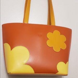 Town Orange Popsicle Leather Shoulder Bag